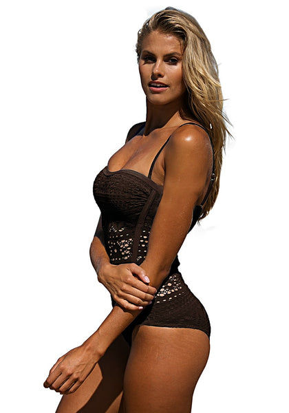 Left side shot of blonde model in brown bramble lace halter swimsuit