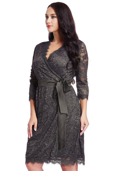 Left side shot of model in plus size grey lace crop sleeves wrap dress