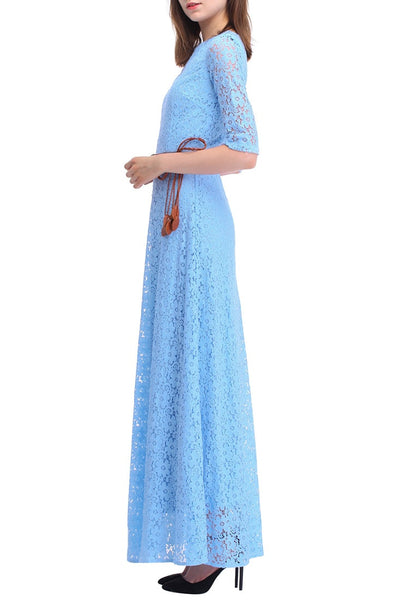 Left side shot of woman in a powder blue maxi dress