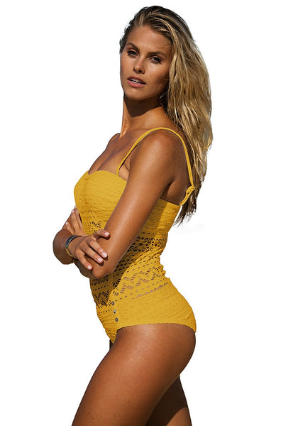 Left side shot of woman in lightning yellow lace halter swimsuit