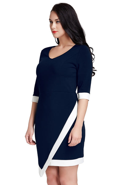 Right side of model wearing plus size navy asymmetric wrap bodycon dress