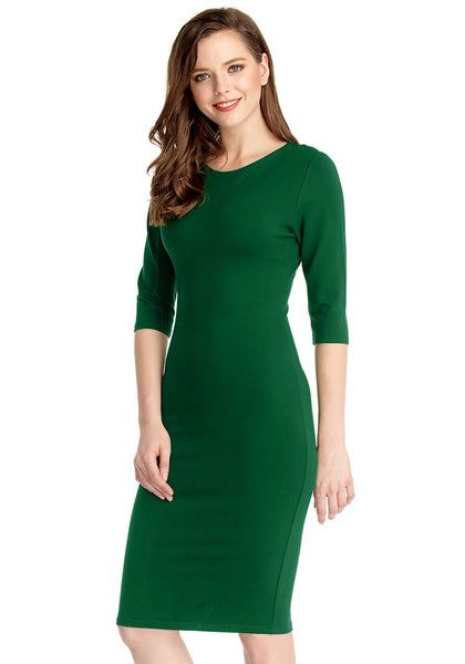 Left side view of model in green classic bodycon midi dress
