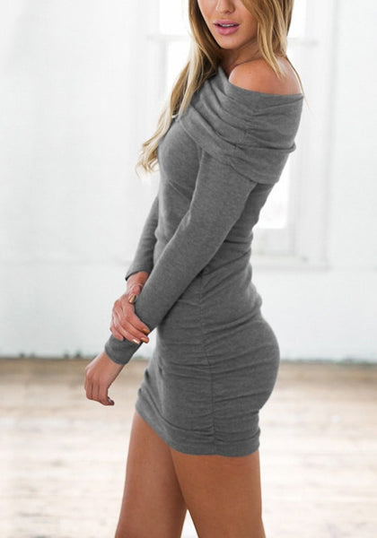 Left side view of model in grey off-shoulder bodycon dress