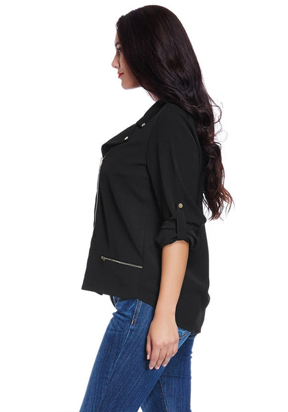 Left side view of model in plus size front-zip black blazer
