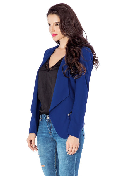 Left side view of model in royal blue draped blazer