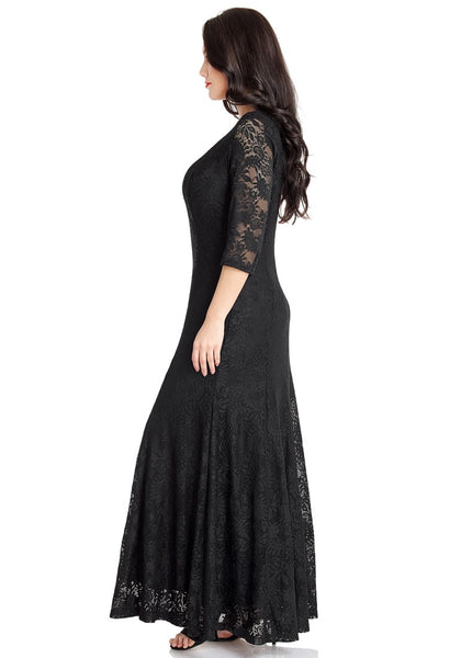 Left side view of model wearing black floral lace overlay sweetheart neckline maxi dress