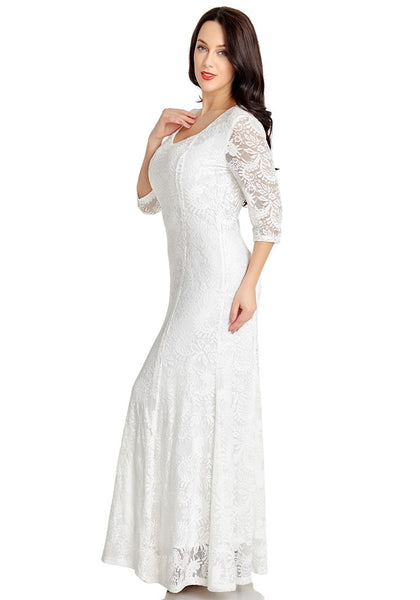 Left side view of model wearing white floral lace overlay sweetheart neckline maxi dress