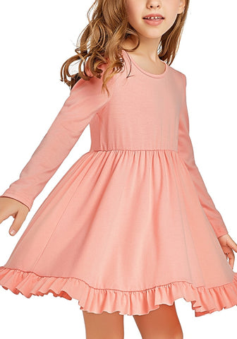 Coral Ruffle Hem Pleated Long Sleeves Short Girl Dress