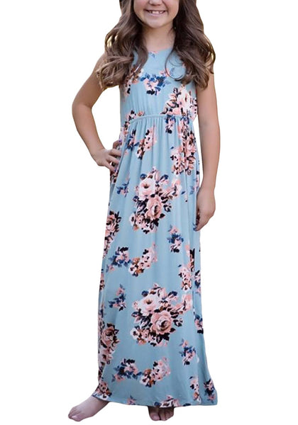 Little girl poses wearing light blue crew neckline sleeveless floral maxi girl dress