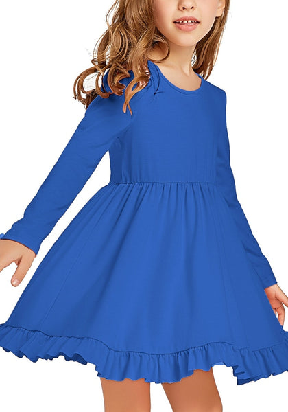 Little girl poses wearing royal blue ruffled hem pleated long sleeves short girl dress