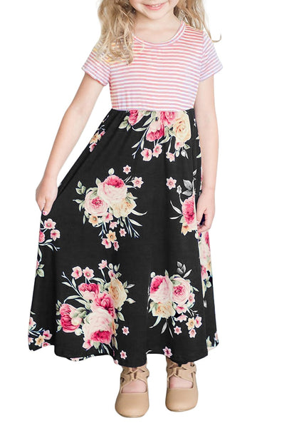 Black Short Sleeve Patchwork Floral Girl