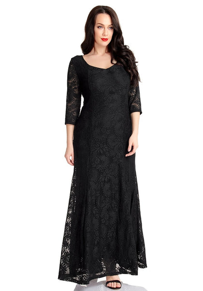 Lovely model poses wearing black floral lace overlay sweetheart neckline maxi dress