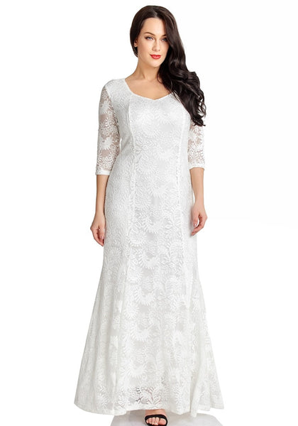 Lovely model poses wearing white floral lace overlay sweetheart neckline maxi dress