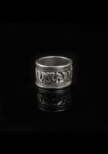 Middle ring of oxidized silver ring