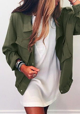 Moss Green Button-Down Military Jacket