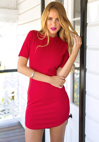 Red Curved-Hem Bodycon Dress