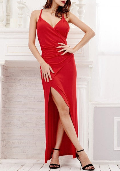 Model in red side slit dress and shoes