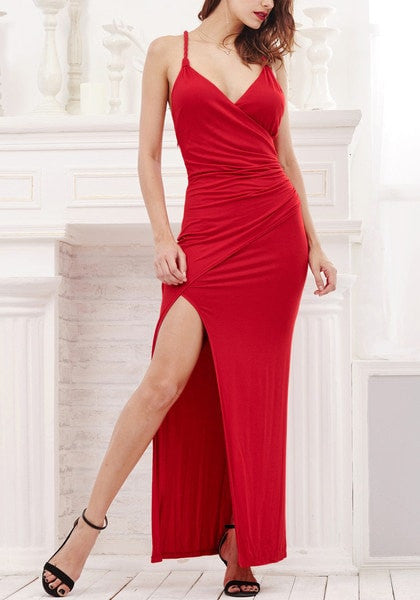 Red Side-Slit Evening Dress