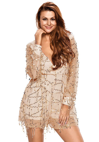 Gold Flowing Sequins Long Sleeves Romper