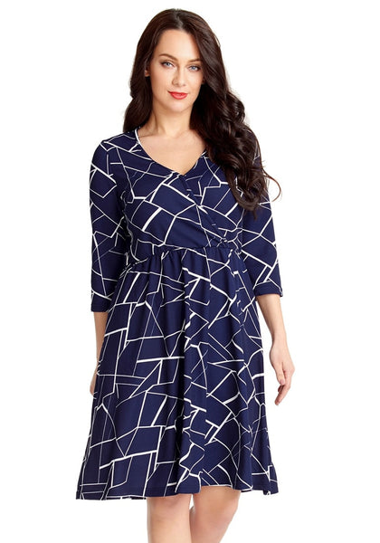 Model poses wearig plus size navy geometric-print crop sleeves faux wrap dress