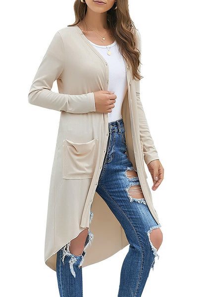 Model poses wearing apricot high-low button-up long knit cardigan