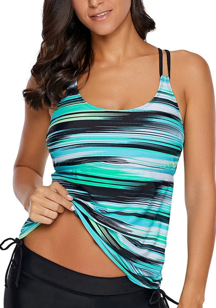 Model poses wearing aqua abstract stripe-print strappy tankini top