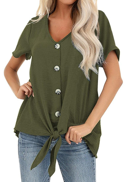 Model poses wearing army green V-neckline short sleeves button-up tie-front top