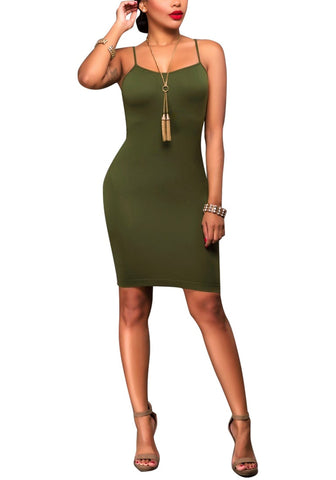 Army Green Cami Bodycon Dress
