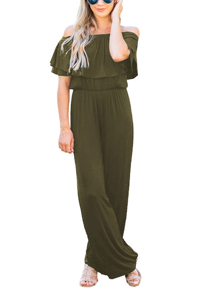 Model poses wearing army green ruffled off-shoulder jumpsuit