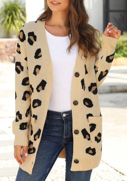 Model poses wearing beige leopard-print button-up sweater cardigan