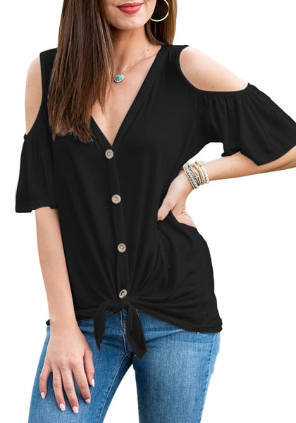 Model poses wearing black V-neckline button-up cold-shoulder tie-front blouse