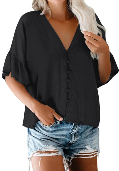 Model poses wearing black V-neckline ruffle half sleeves button-up loose top