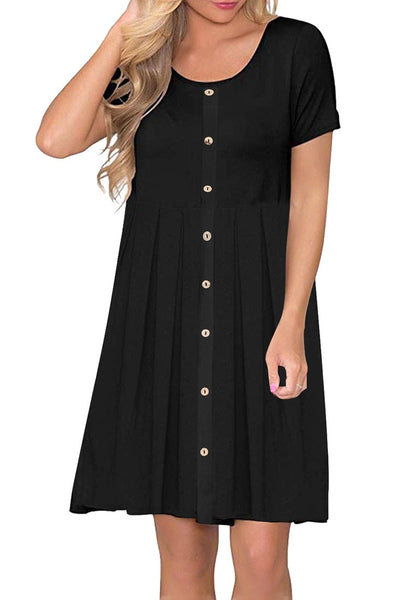 Model poses wearing black button-down short sleeves flowy swing dress