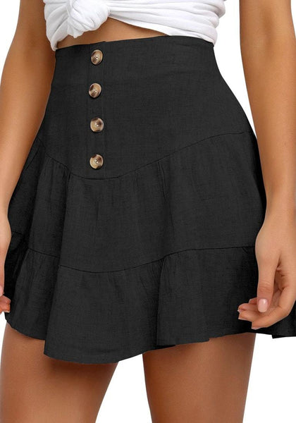 Model poses wearing black button-front elastic-back ruffled mini skater skirt
