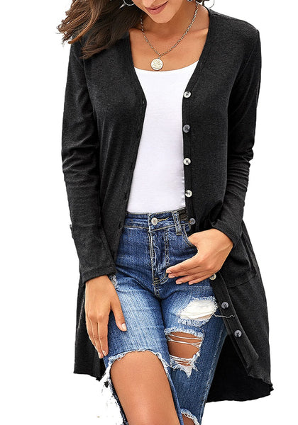Model poses wearing black high-low button-up long knit cardigan