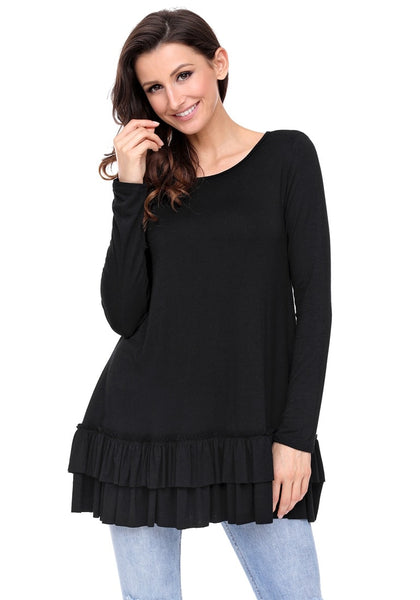 Model poses wearing black layered ruffle-hem long sleeves tunic
