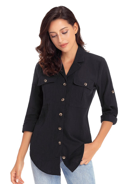 Model poses wearing black long cuffed sleeves lapel button-up blouse
