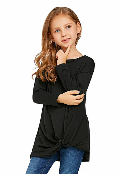 Model poses wearing black long sleeves front twist knot girl top
