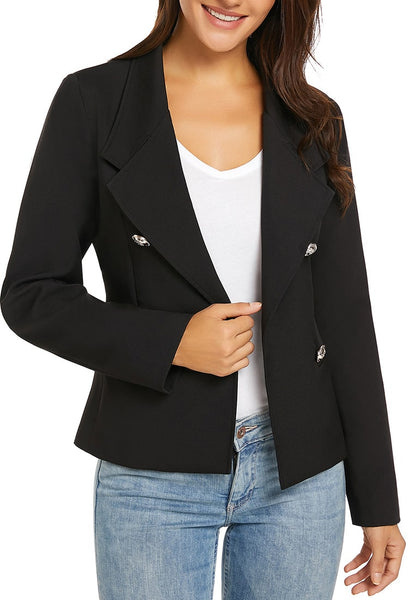 Model poses wearing black notch lapel buttons open-front blazer