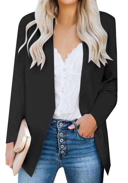 Model poses wearing black open-front side pockets blazer