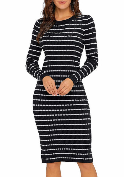 Model poses wearing black ribbed knit striped bodycon dress