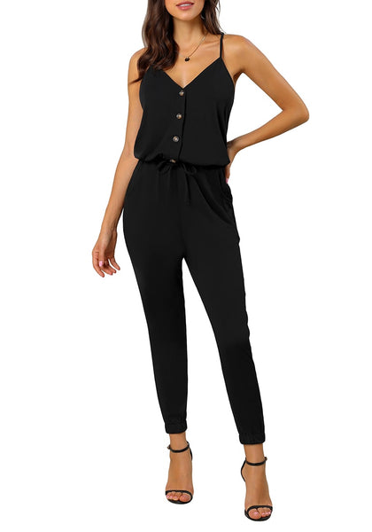 Model poses wearing black spaghetti straps belted button-up jumpsuit
