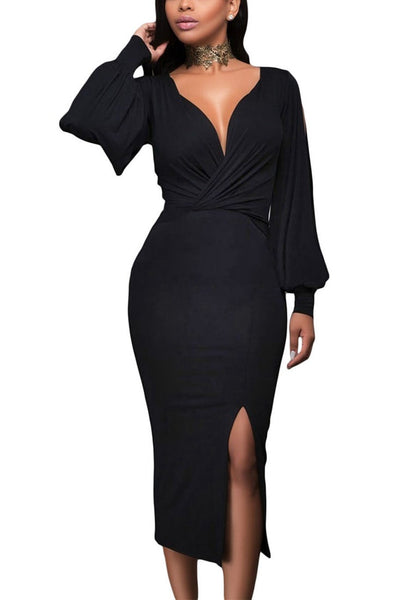Model poses wearing black split sleeve ruched midi dress