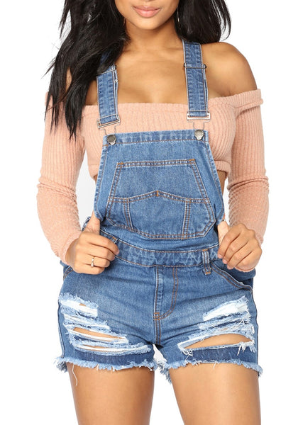 Blue Denim Ripped Shorts Bib Overall