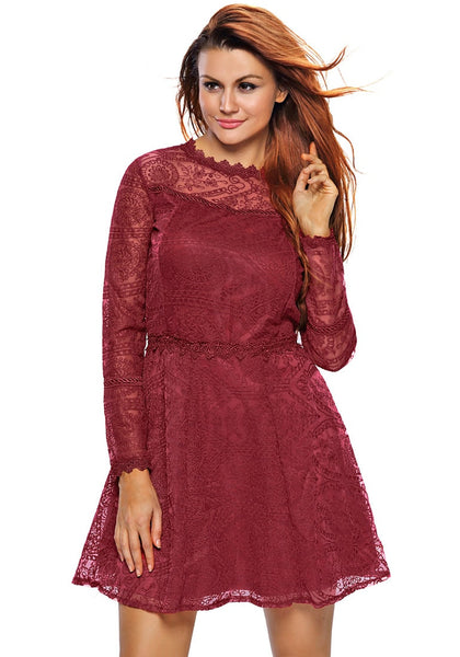 Model poses wearing burgundy lace A-Line dress