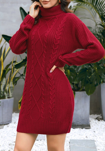 Model poses wearing burgundy turtleneck cable knit pullover sweater dress