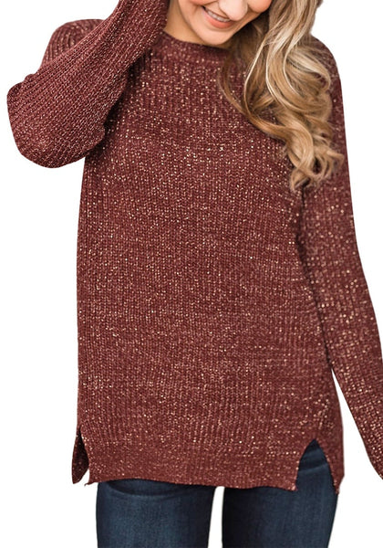 Model poses wearing burgundy velvet knit side-slit pullover sweater