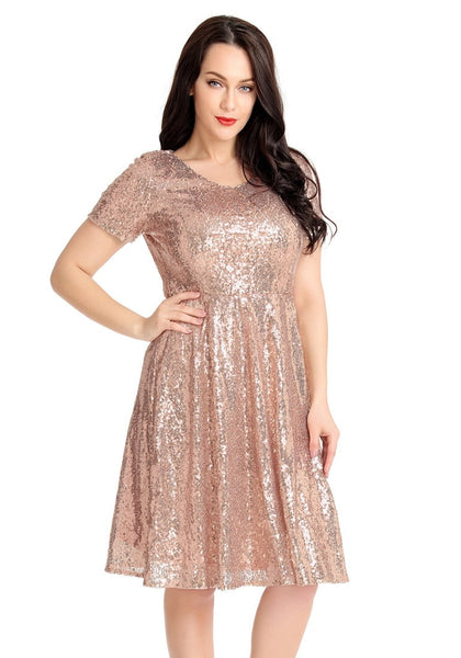 Model poses wearing champagne sequined short sleeves skater dress