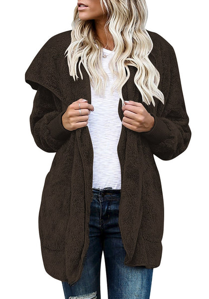 Model poses wearing coffee snuggle fleece oversized hooded cardigan