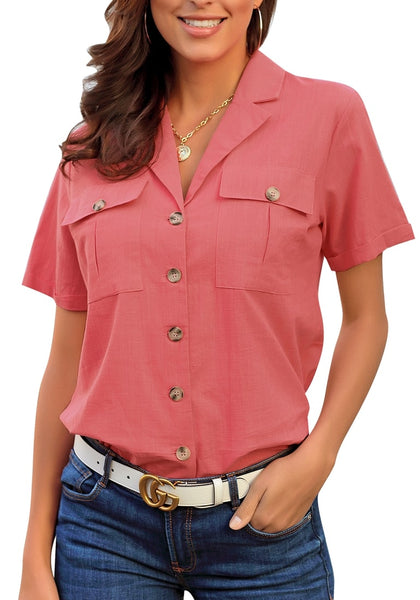 Model poses wearing coral pink short sleeves lapel button-up blouse